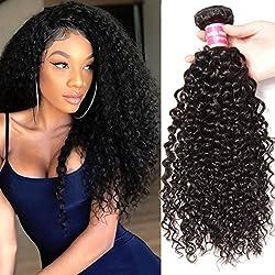 KLAIYI Hair Good Quality Brazilian Curly Hair Weave 1Bundle Virgin Human Hair Extensions Unprocessed Natural Color 95-100g/pc (20Inch)