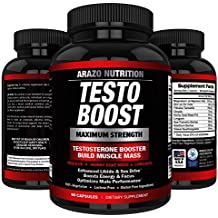 TESTOBOOST Test Booster Supplement | Potent & Natural Herbal Pills | Boost Muscle Growth | Tribulus, Horny Goat Weed, Hawthorn, Zinc, Minerals| Arazo Nutrition USA