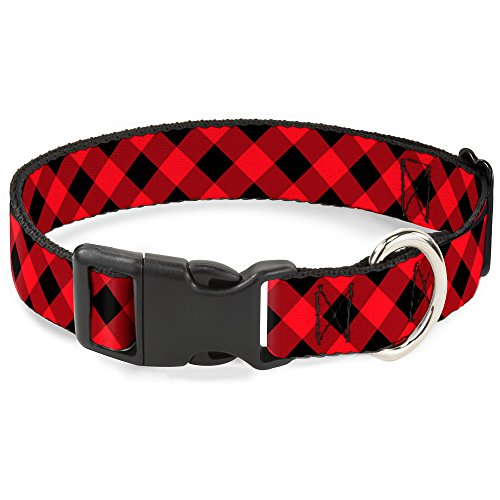 Red Plaid Dog Collar - Buckle Down Plastic Clip Collar - Diagonal Buffalo Plaid Black/Red - 1