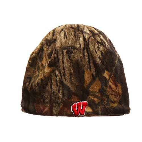 Wisconsin Badgers Reversible Camouflage Mossy Oak Skull Cap - NCAA Cuffless Camo Winter Knit Beanie Hat (Camo Badgers Wisconsin)