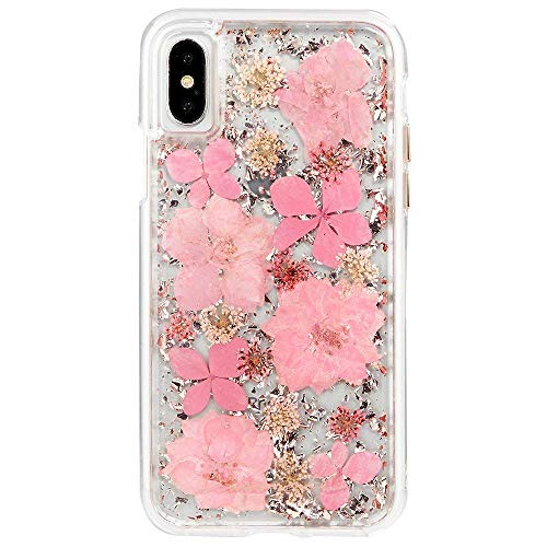iPhone X/XS Case - Karat Petals - Made with Real Flowers - Slim Protective Design for Apple iPhone X/XS - Pink Petals ()