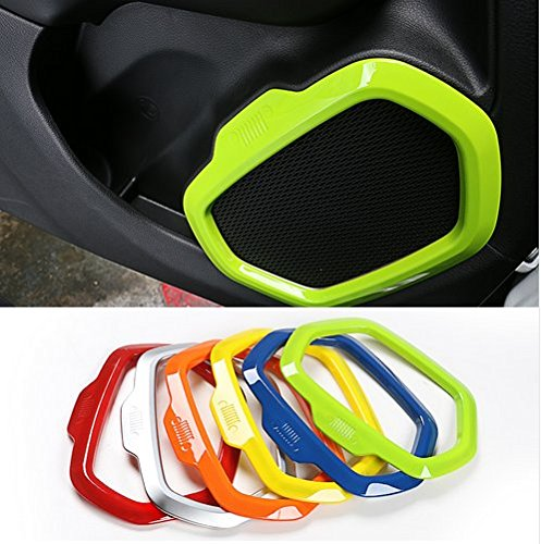 Dwindish Yellow ABS Interior Car Door Sound Speaker Audio Ring Cover Trim for Jeep Renegade 2015-2017 by Dwindish (Image #4)
