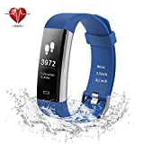 Ulvench Fitness Tracker, Heart Rate Monitor Smart Watch With Calorie Counter Pedometer Sleep Monitor, Step Counter, GPS, IP67 Waterproof Activity Tracker for Android&iOS SmartPhone (Blue)