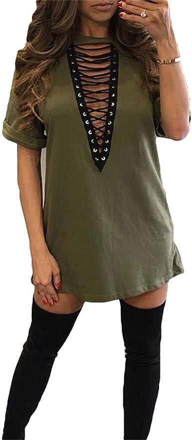 Blusa larga para mujer - Camiseta de manga corta Túnica con escote en V profundo sexy Suelto Casual Top Club Party Steampunk Vestido de camisa: Amazon.es: Ropa y accesorios