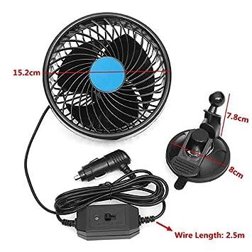 elegantstunning Ventilateur de Refroidissement /à air 15,2 cm avec Ventouse pour Voiture v/éhicule /à Faible Bruit