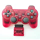 Bowink Wireless Gaming Controller for Ps2 Double Shock - Clear Red