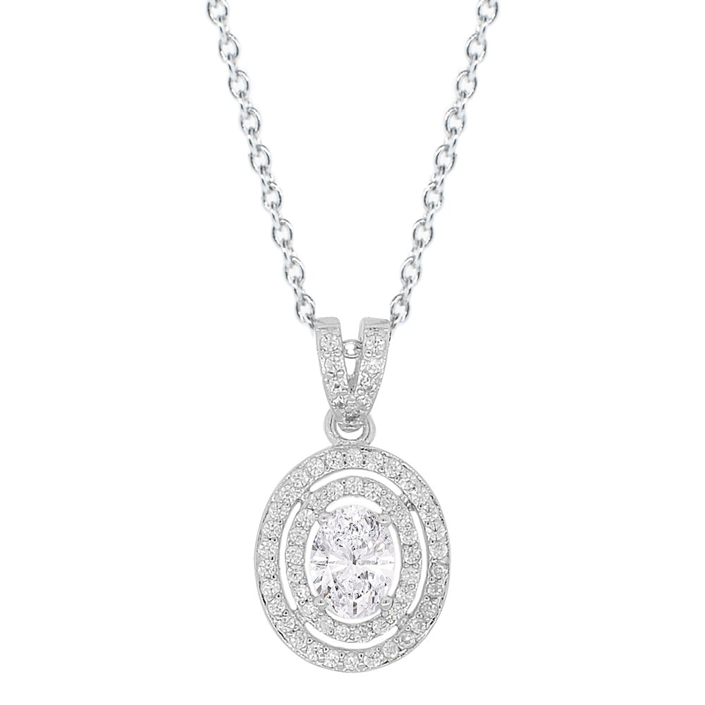 Cate & Chloe Zelda 18k White Gold Pendant Necklace, Cluster Solitaire Oval Cut Diamond Necklace, Beutiful Trendy Twilight Special Occasion Sparkle Necklace for Women Girls Fancy Round CZ - MSRP 150