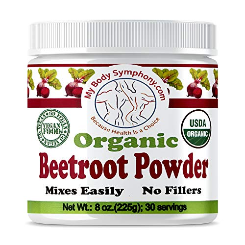 100% USDA Certified Organic Beetroot Superfood Juice Powder | Raw Beet Root, Pure, Non GMO, Natural Source of Nitrates | Boost Nitric Oxide & Supports Circulation, Digestion, Stamina, Energy (8 Oz)