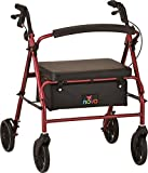 NOVA Vibe Wide Heavy Duty Rollator Walker, Red