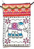 Red cotton elephant design mobile phone pouch with neck strap