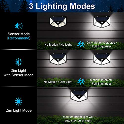 Yolife Outdoor Solar Security Lights 100 LED Waterproof Motion Sensor Lights Super Bright Wall Lights for Front Door, Back Yard,Garage, Deck Porch Step Stair Garden Driveway Patio 2 Pack