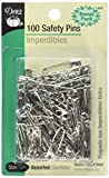 Dritz 1460 100-Piece Safety Pins, Assorted Sizes, Nickel Finish