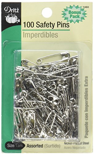 Safety Pins (Dritz 1460  100-Piece Safety Pins, Assorted Sizes, Nickel Finish)