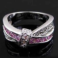 Aisamaisara Women 925 Sterling Silver Amethyst Emerald Sapphire Cross Rings Wedding Jewelry #Pink (9)