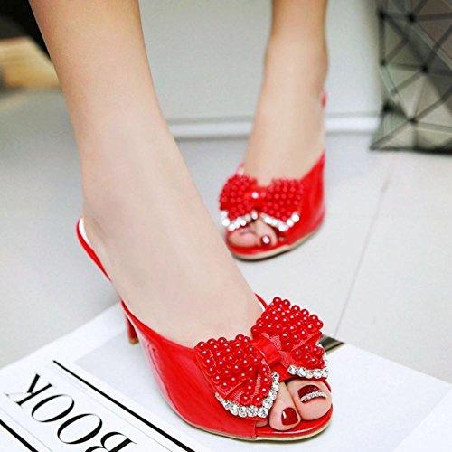 Donne Mode su 1 Mules red Melady Scivolare Sandali Heels OdR5q7w7f