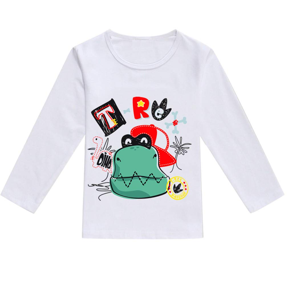 BOOMJIU Toddler Kids Baby Boys Clothes Cute Cartoon Long Sleeve Dinosaur Print T-Shirt Tops Blouse Green