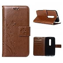 MOONCASE Moto G (3rd Gen) G3 Wallet Case Flower Pattern Premium PU Leather Case for Motorola Moto G (3rd Generation) Bookstyle Soft TPU [Shock Absorbent] Flip Bracket Cover Brown