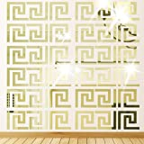Himerus 40 Pcs Mirror Wall Stickers Vintage Greek Key Geometric Pattern Removable Wall Decals DIY Vinyl Art Wall Sticker Art Home Decoration for Window Bedroom Sitting Room (Gold-40)