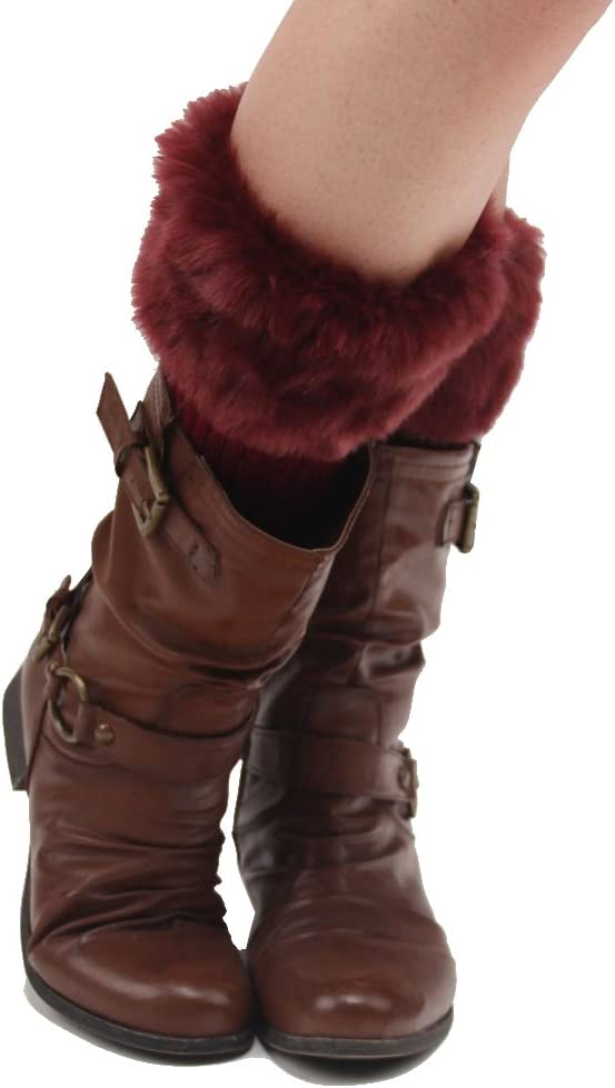 ZUMUii Butterme Femmes dhiver en Fausse Fourrure jambi/ères Bottes Chaussettes jambi/ères Chaussettes tricot/ées Boot Topper Cuff