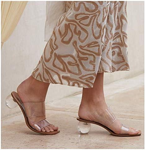 WFZGZ Tacco Alto Sandali di Cristallo Alti Talloni delle Donne della Punta Quadrata Microfibra Estate Almond,US7.5/EU38  UXyjmv