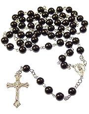JRose Collecties Lange Zwarte Glas Katholieke Rozenkrans Kralen met Onze-Lieve-Vrouw centrum 8mm kralen
