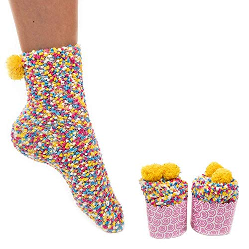 Gal Pal: Cozy Socks for Girls in Cupcake Packaging Sleepover Party Supplies - Multi Colored