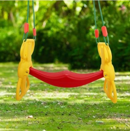 MD Group Kids Rider Glider Swing Back to Back 2 Kids w/ Hangers Plastic & Rope (Swing Rider Glider)