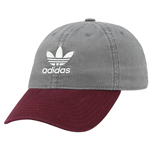 adidas Women's Originals Relaxed Fit Strapback Cap, Grey/Burgundy, One (Womens Adjustable Slouch Cap)