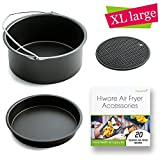 [ XL-VERSION ] Air Fryer Accessories XL- Fits All 5.3 - 5.8QT - Non-Stick Barrel / Pan + Silicone Mat + Air Fryer Recipes, Compatible with Power Air Fryer XL / Philips Avance XL HD9240 / GoWISE USA XL