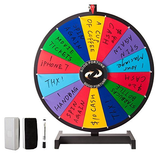 Hepburn's Tabletop Spinning Prize Wheel 14 Slots with Color Dry Erase Trade Show Spin Game 24 Inch