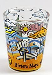 """Here's a very rare and hard to find souvenir collectible shot glass from Riviera Maya Mexico. It's a 5x6cm style shot glass measuring 2.25"""" tall and 1.8"""" in diameter."""