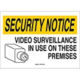 Brady 14'' X 20'' X .06'' Black/Yellow On White .0591'' B-401 Polystyrene Security Notice Sign''SECURITY NOTICE VIDEO SURVEILLANCE IN USE ON THESE PREMISES''