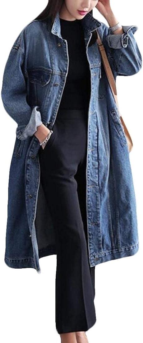 X-Future Womens Loose Windbreaker Mid Length Plus Size Denim Jacket Jean Trench Coat