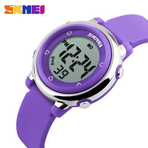 Gosasa Kids' LED Digital Sports Cartoon Jelly Waterproof Watch with blue Rubber Strap (Purple)