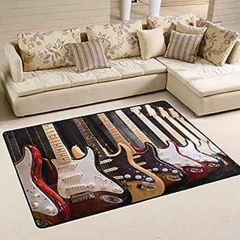3x5  Area Rug Guitars Rock N Roll Music Fun Time Guitar Room Black w Non skid