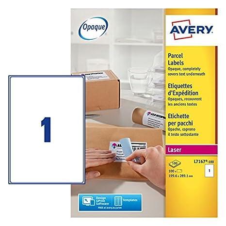 Avery L7167-100 Blockout Etichette, 1 Pezzo per Foglio, 100 Fogli, 99.6 x 289.1, Bianco
