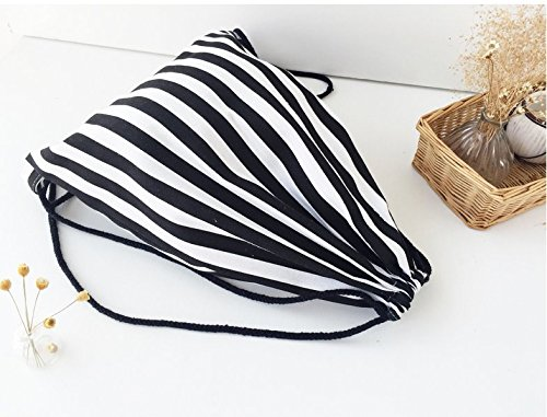 Tfxwerws Fashion creative viaggio coulisse zaino borsa a tracolla (nero bianco a righe)