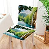 Mikihome Beautiful Chair Cushion in Forest with Mountain Background Artwork Green and Blue Indoor and Outdoor Cushion Mat:W17 x H17/Backrest:W17 x H36