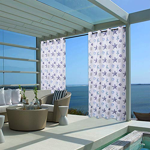 oremila Outdoor Curtain Panel for Patio - Grommet Top Water Repellent Multicolor Seashell Conch Printed Indoor/Outdoor Drape for Front Porch/Seaside(Single Panel, 52