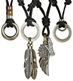 Jstyle 4 Pcs Leather Necklace for Men Women Pendant Vintage Wing Feather Chain Adjustable