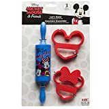 Zak Designs Mickey & Minnie Mouse Rolling Pin and Cookie Cutters for Cooking with Kids, Mickey & Minnie