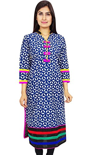 Las mujeres de algodón indio superior ocasional del desgaste del verano de vacaciones Ropa Resort Wear Azul-4