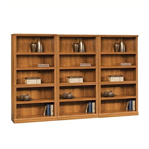 Sauder Storage Five Shelf Wall Bookcase in Abbey Oak Finish by Sauder