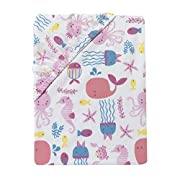 Bedtime Originals Sugar Reed Aquatic Fitted Crib Sheet, Pink/Blue