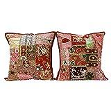"Home Decor Throw Pillow Beaded Indian Cushion Cover 2 Pieces Sofa Cotton Case 16"" x 16"" Inches"
