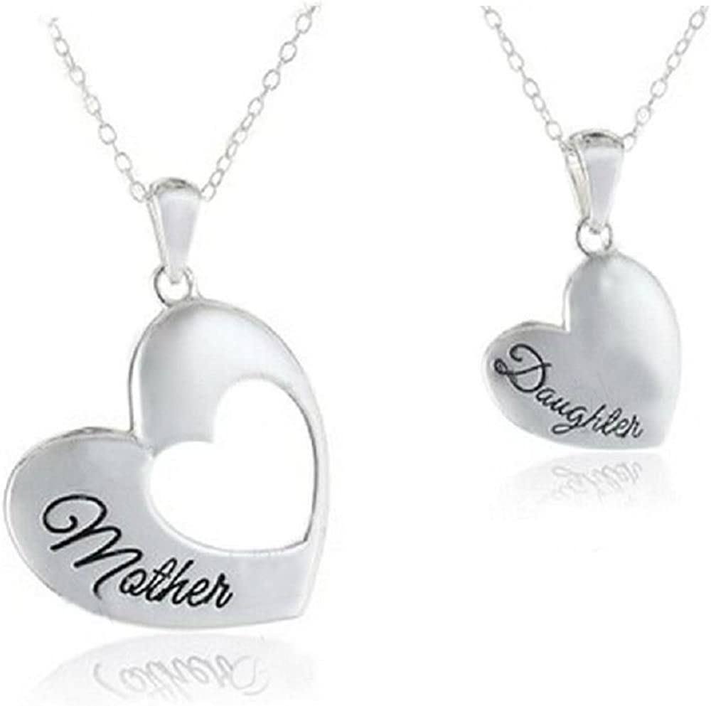 THE LOVE BETWEEN A MOTHER /& DAUGHTER IS pendant necklace silver tone family love