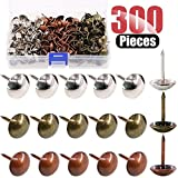 Hilitchi 300-Pcs [3-Color] 9/16''(14mm) Antique Upholstery Nails Tacks Furniture Tacks Upholstery Tacks Thumb Tack Push Pins Assortment Kit