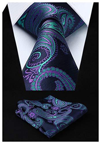 - HISDERN Extra Long Floral Paislry Tie Handkerchief Men's Necktie & Pocket Square Set (Blue & Green & Purple)