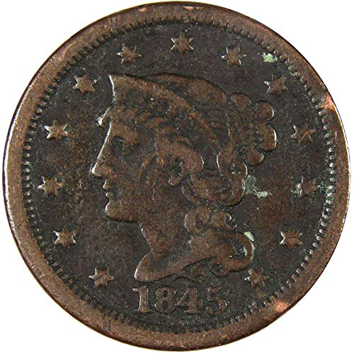 1845 1c Braided Hair Large Cent Penny Genuine