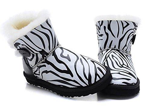 Damen Schneestiefel Leder Warm Winter Verdickung Zebrastreifen(Eine Größe zu klein) Zebra Stripes